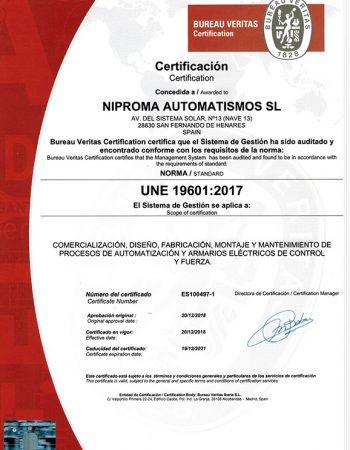 Certificación UNE 1960 20-12-2018